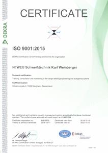 Dekra Siegel ISO 9001:2015
